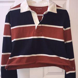 vintage cropped striped polo